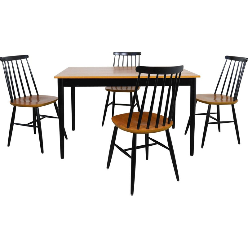 Vintage Dining Table & 4 Chairs, Denmark, 1972
