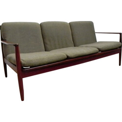 Poul Jeppesen 3 seater sofa in rosewood and wool fabric, Grete JALK - 1960s