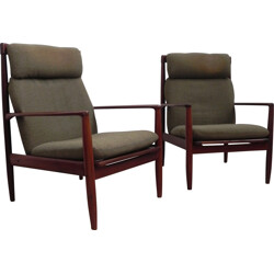 Pair of Poul Jeppesen armchairs in rosewood and green wool, Grete JALK - 1960