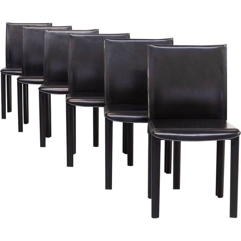 Set 6 Vintage Leather Dining Chairs For, Black Leather Dining Room Chairs
