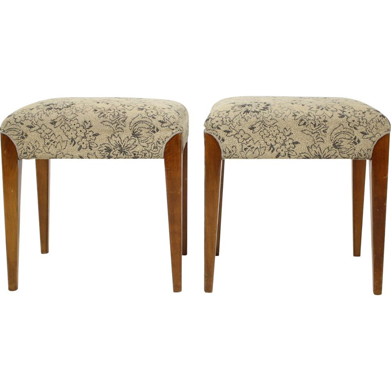 Pair of vintage footstools designed by Jindřich Halabala, czechoslovakia 1950s