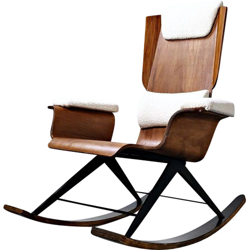 Vintage Wood rocking chair by Carlo Ratti Italy 1960s