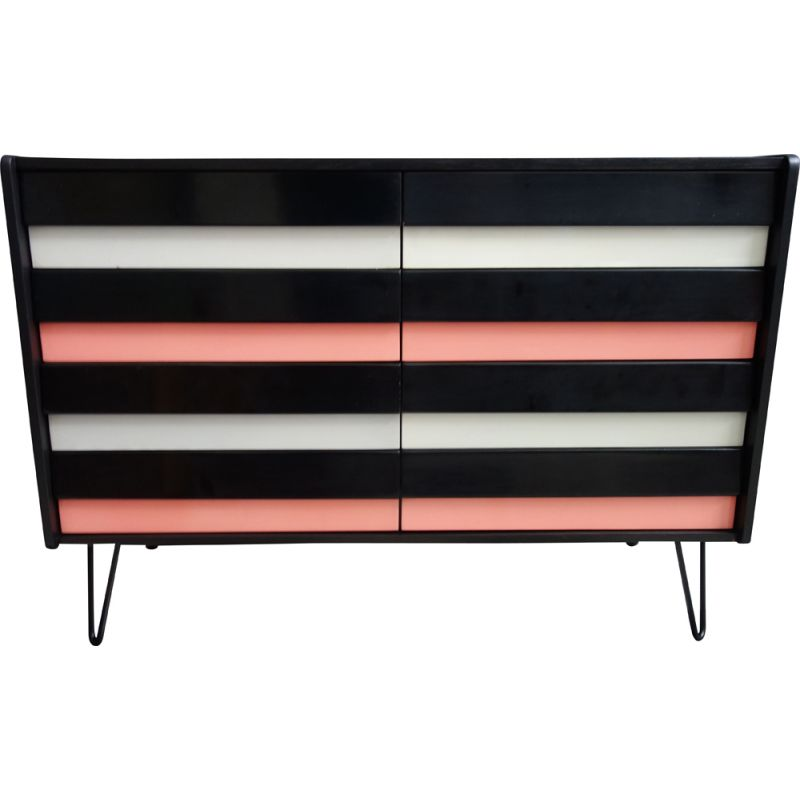 Vintage pink and black chest of drawers on hairpin legs, Jiroutek 1960