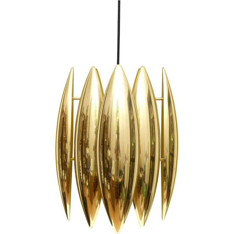 Vintage Pendant lamp 'Kastor' in brass by Jo Hammerborg For Fog and Morup 1960s