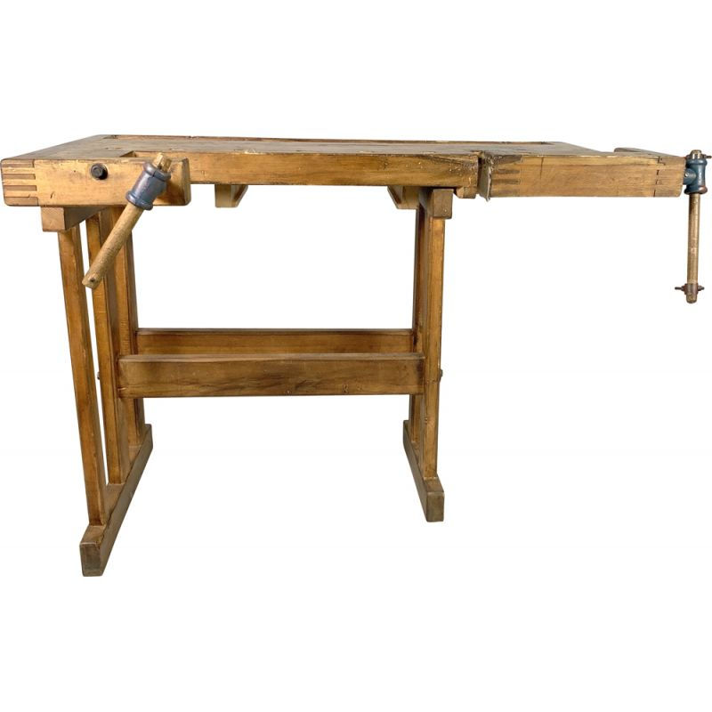 Vintage oak workbench, Czechoslovakia 1950
