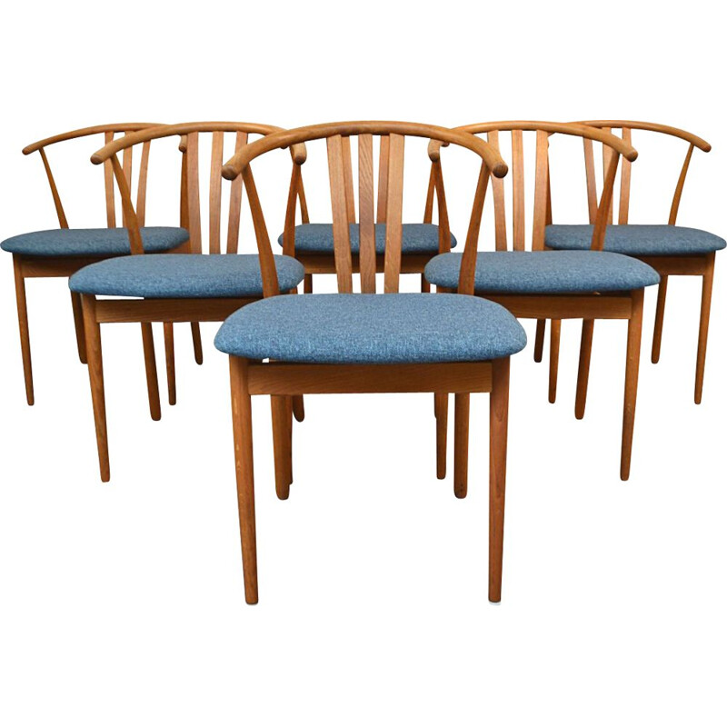 Set of 6 vintage oak chairs, Hans J. Wegner, Danish