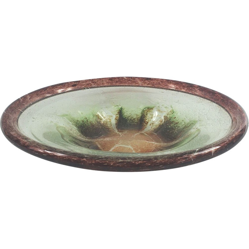 Large vintage bowl in Ikora glass by Karl Wiedmann for the WMF 1930