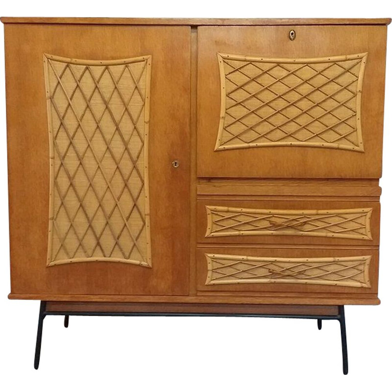 Vintage rattan cross-braced effect secretary 1950