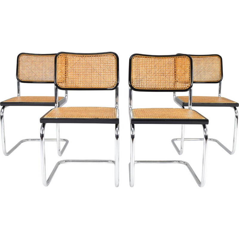 Set of 4 vintage chairs Cesca B32 by Marcel Breuer, Italy 1970