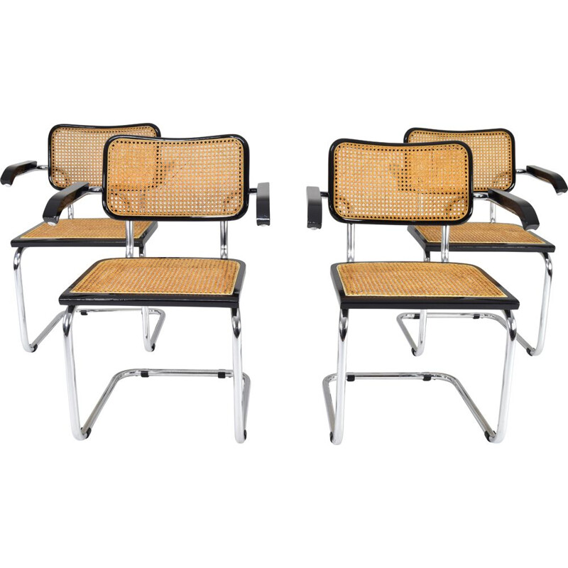 Set of 4 vintage chairs Cesca B64 by Marcel Breuer, Italy 1970