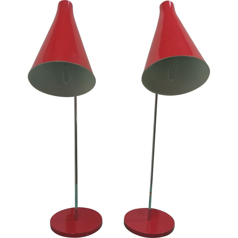 Pair of adjustable vintage table lamps by Josef Hůrka for Napako, 1960