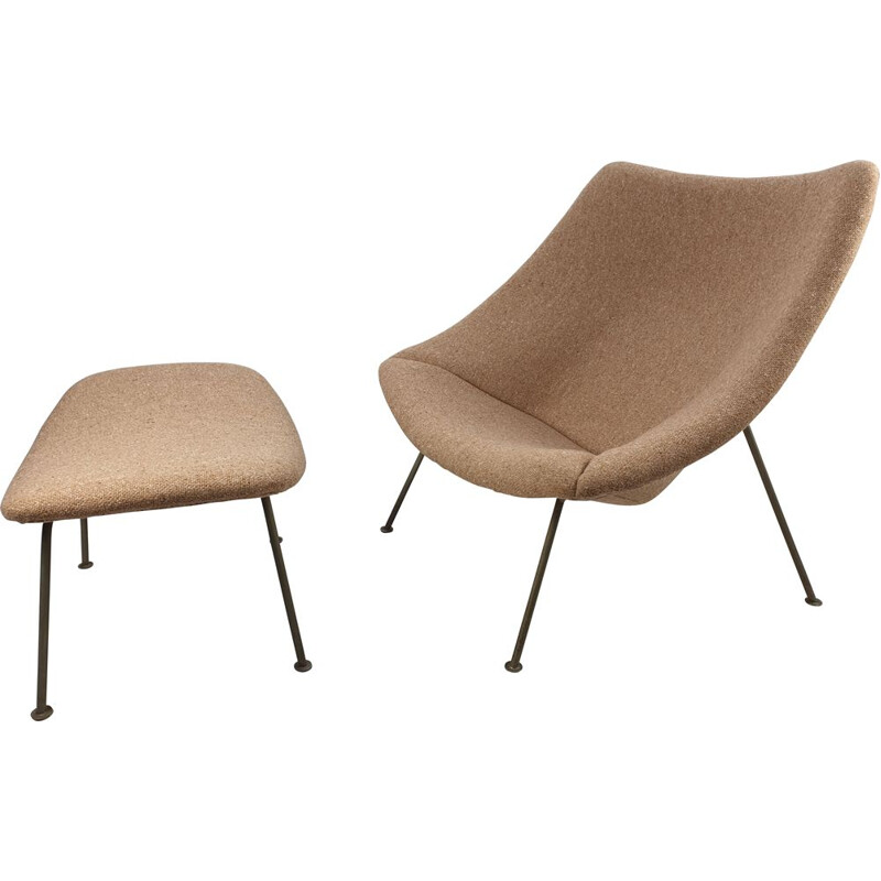 Vintage Oyster Chair with ottoman by Pierre Paulin for Artifort, 1965