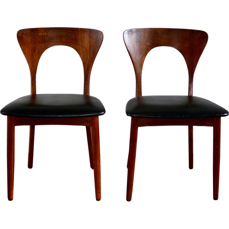 Pair of vintage teak chairs, Niels Koefoed, Scandinavia