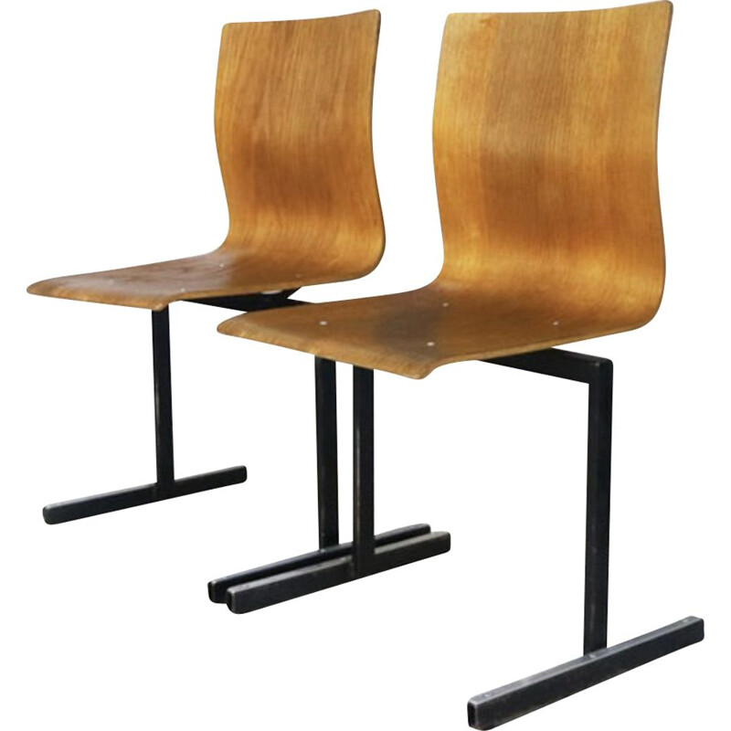 Vintage stacking chairs by Niels Larsen Moller, Danish 1970