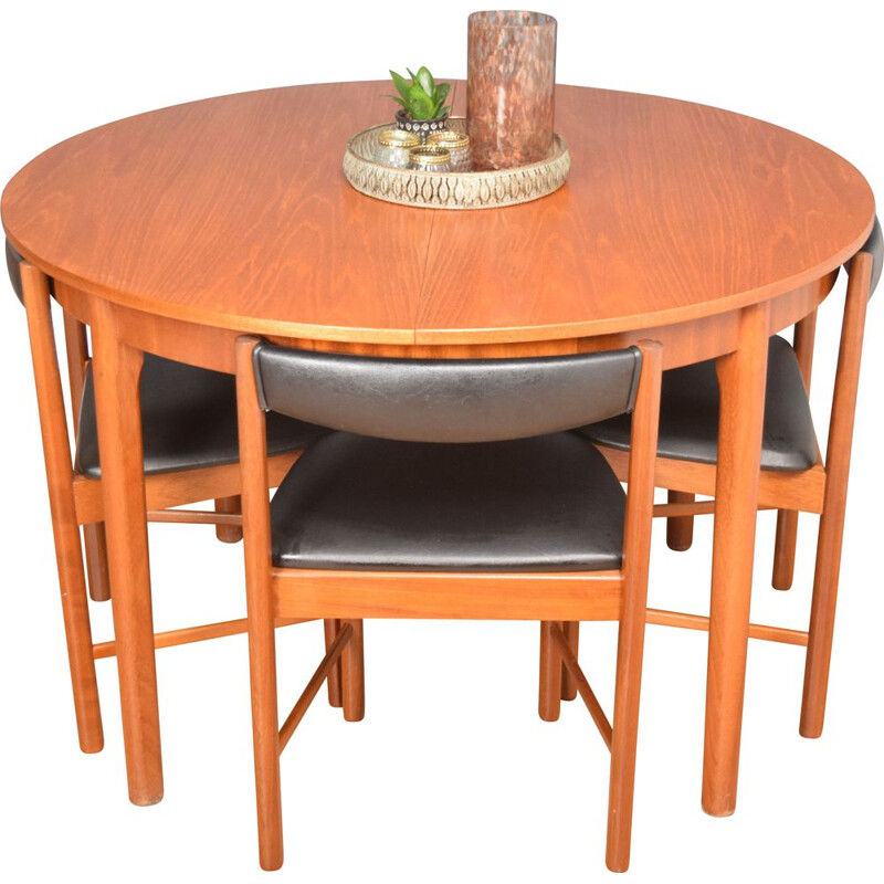 Vintage round table and 4 chairs in teak McIntosh, 1960