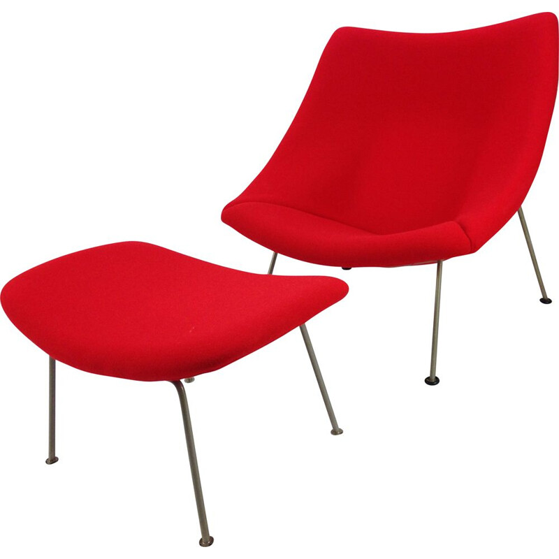 Vintage Oyster armchair with ottoman by Pierre Paulin for Artifort, 1965