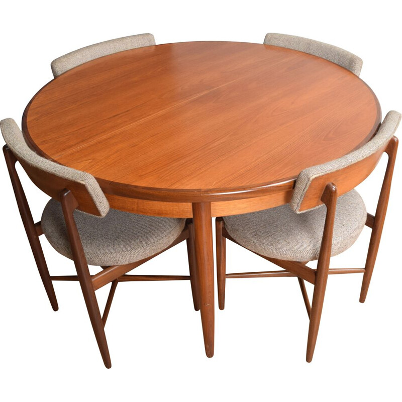 Vintage round table and 4 chairs in teak G Plan 1960