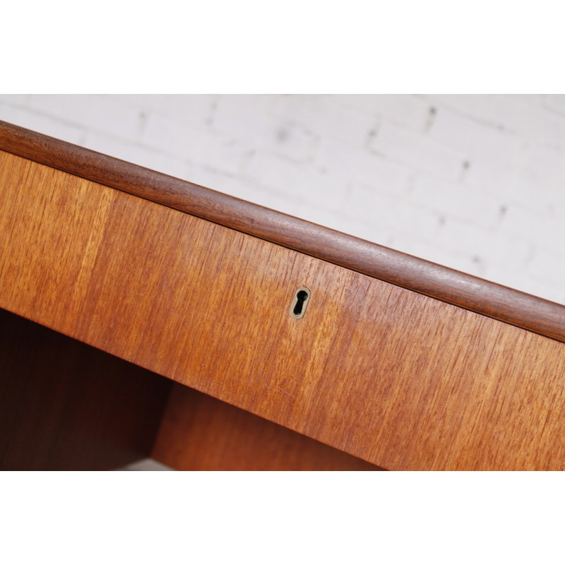 German Modern Teak Desk With Bookshelf