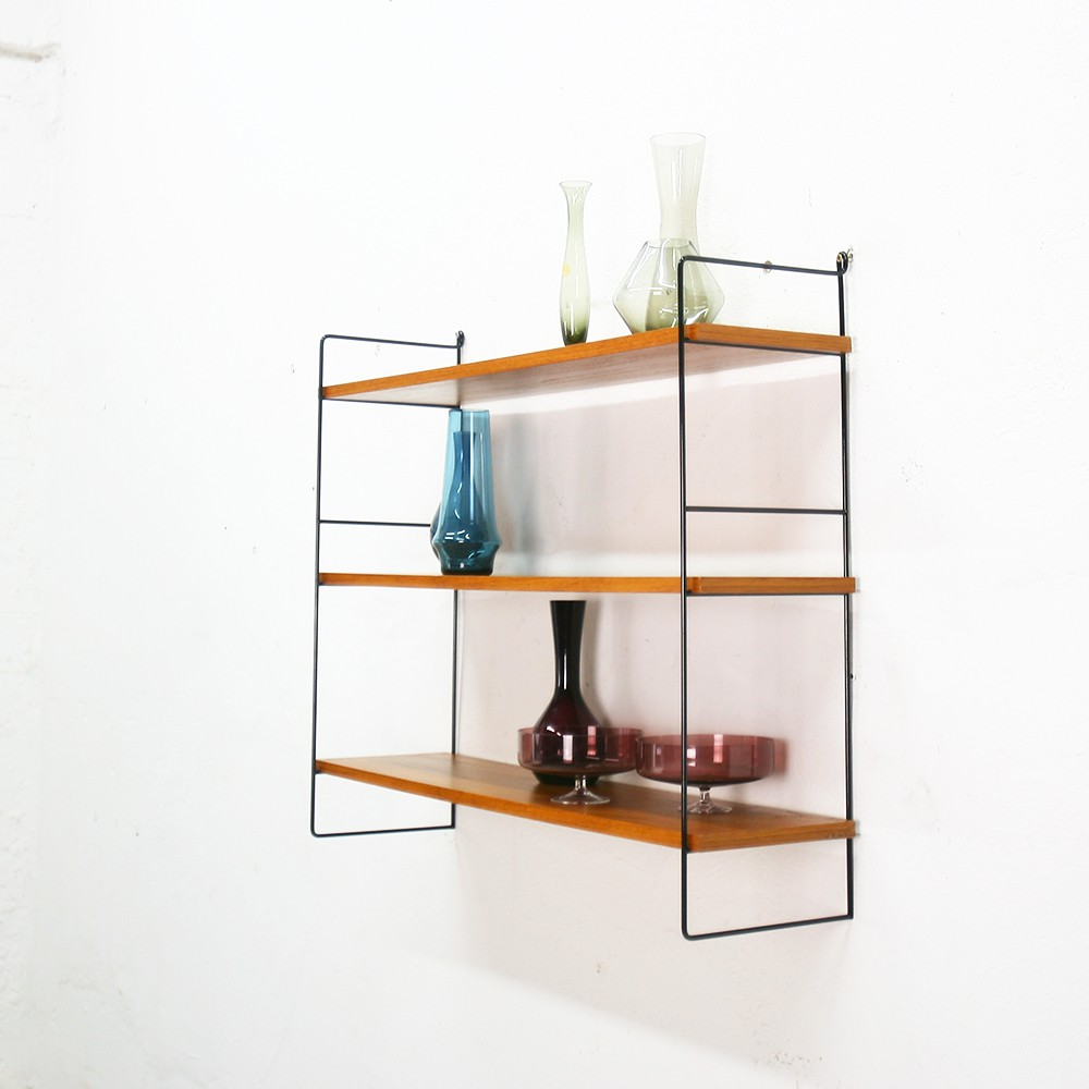 Modular wall shelving system in walnut - 1960s