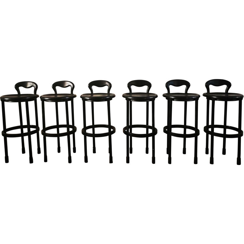 Set of 6 vintage bar stools 1980