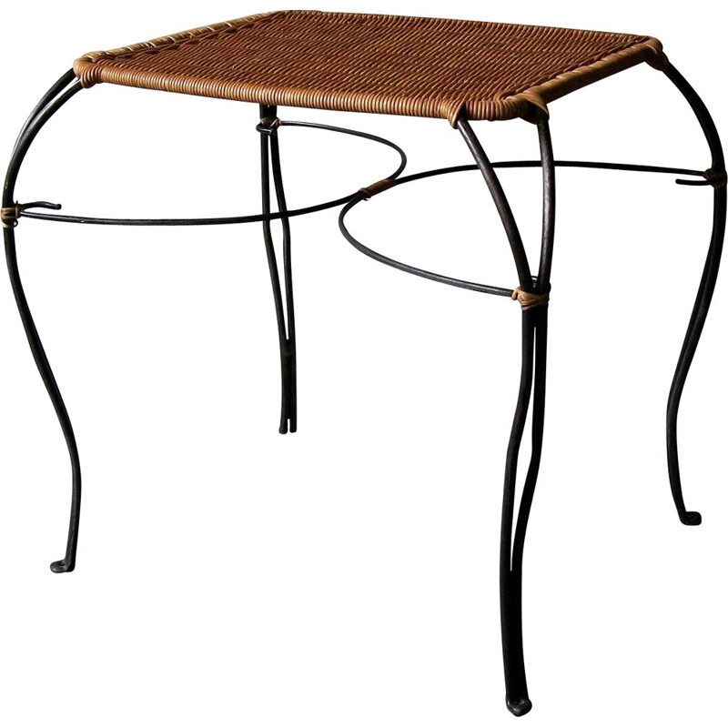 Vintage rattan and black iron Scandinavian wine table