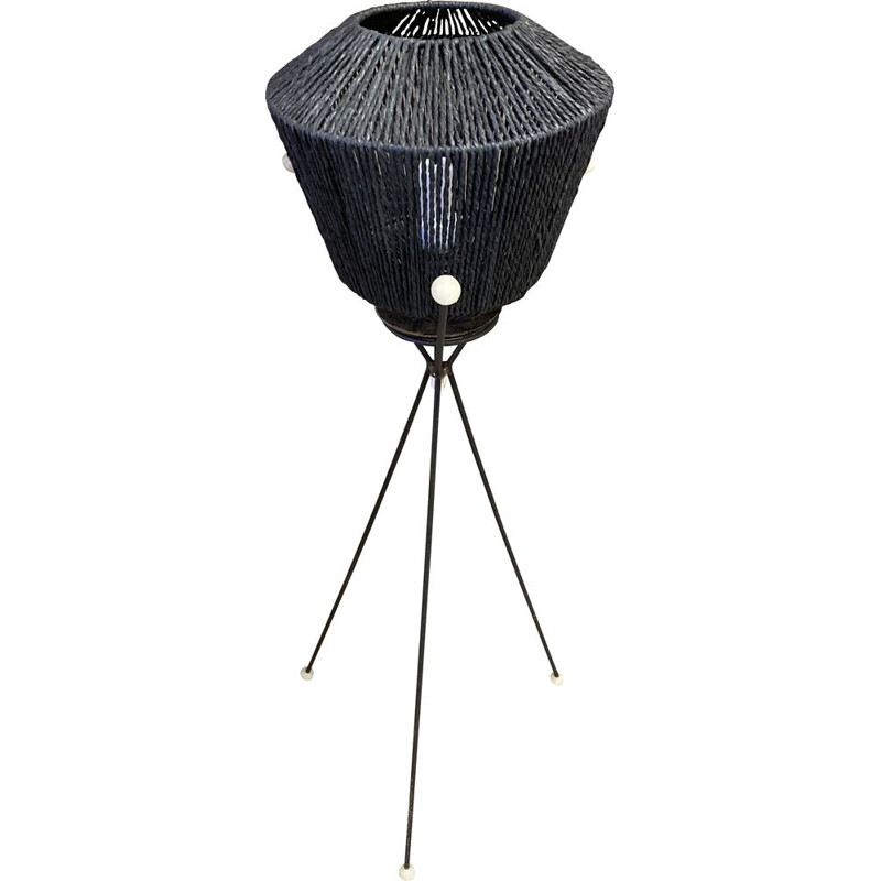 Vintage black tripod floor lamp 1950