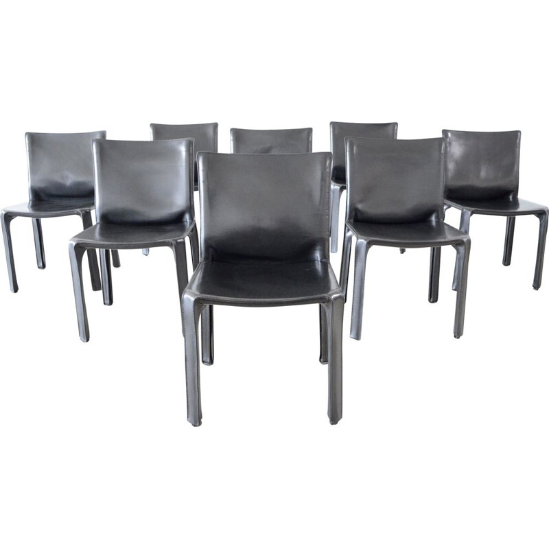 8 Vintage Cassina Cab 412 black leather dining chairs by Mario Bellini