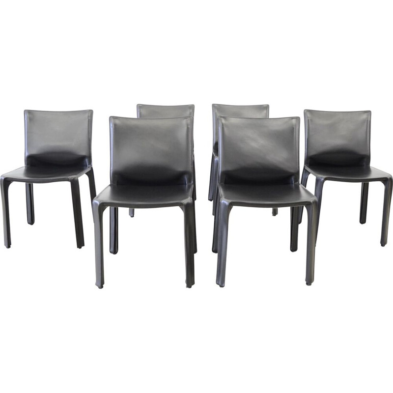 6 vintage Cassina Cab412 black leather chairs by Mario Bellini