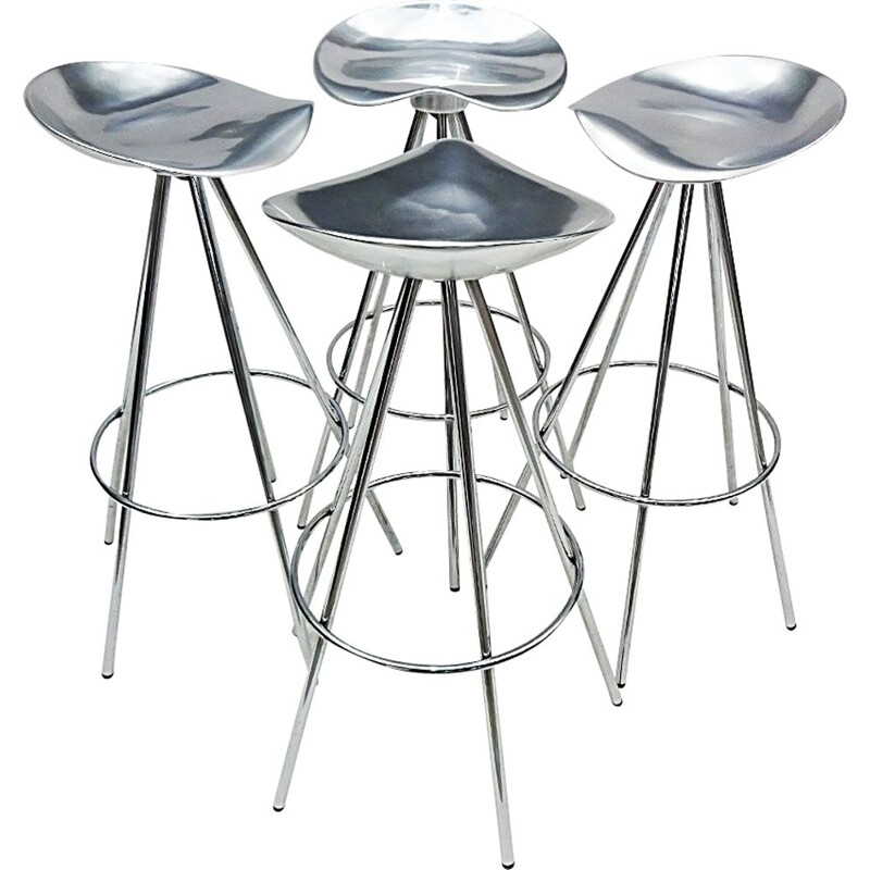 4 vintage bar stools in chrome and aluminium by Pepe Cortes, Spain