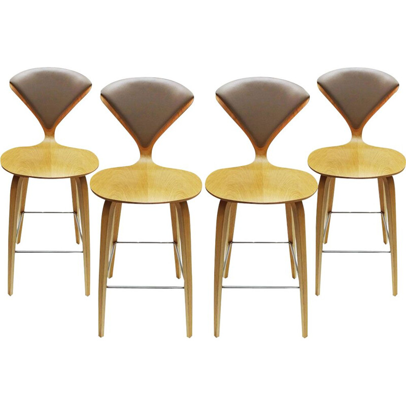 Set of 4 vintage oak, chrome and plywood bar stools by Norman Cherner