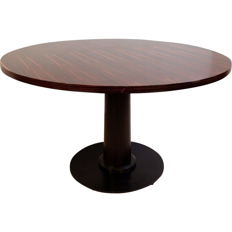 Vintage round macassar ebony dining table