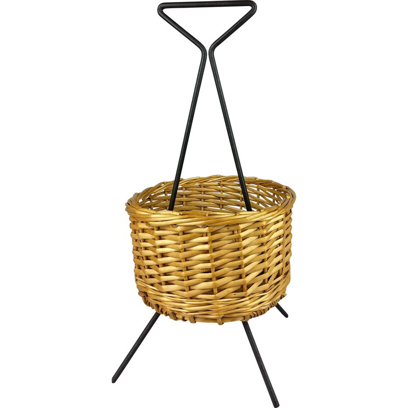 Vintage rattan basket on black metal stand 1960