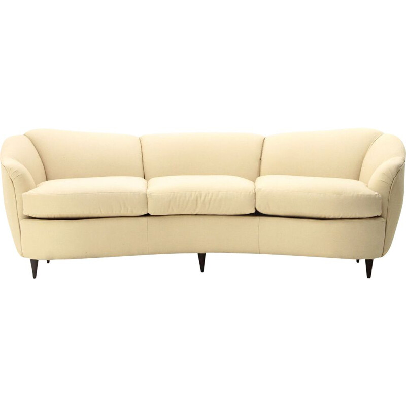 Vintage 3 seater curved sofa in cream white fabric 1940
