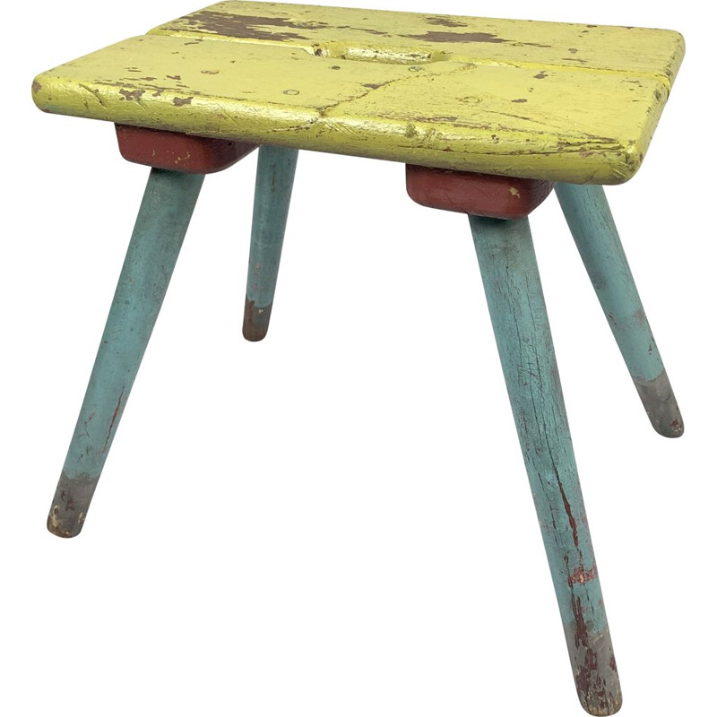 Vintage industrial wood stool 1930