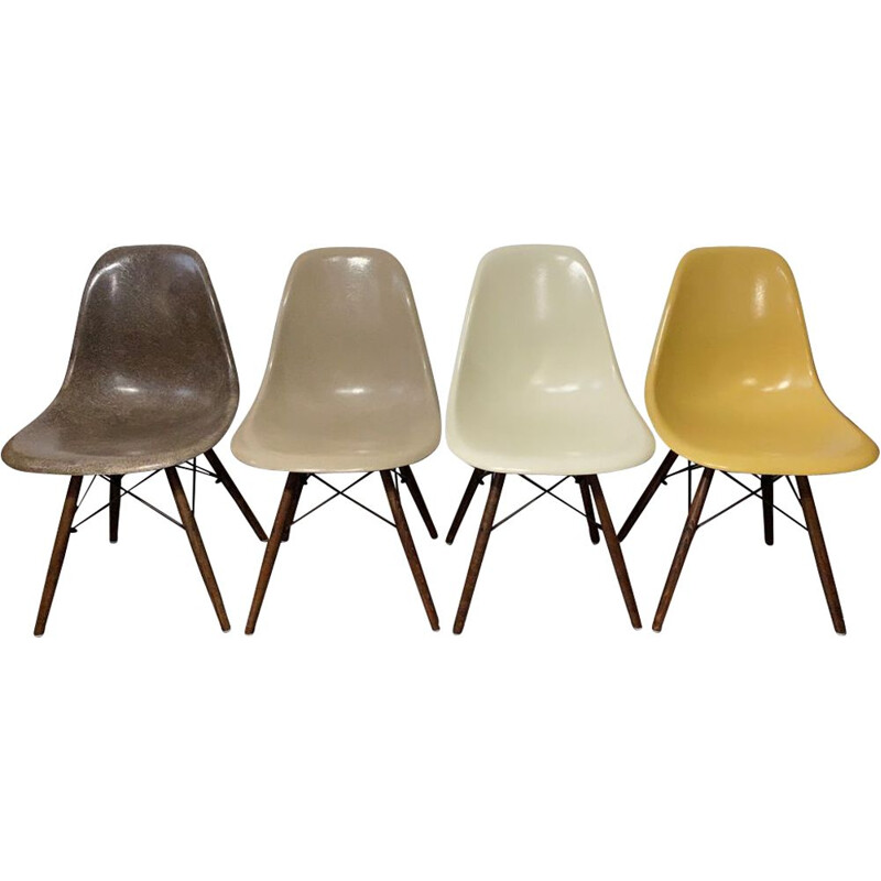 4 vintage DSW walnut chairs by Charles & Ray Eames for Herman Miller 1960