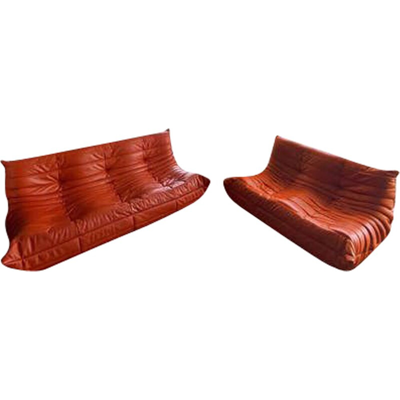 Vintage lounge set Togo 3 + 2 in orange leather