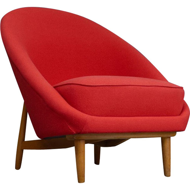 Vintage Red Club Chair n 115 for Artifort Theo Ruth Netherlands 1958