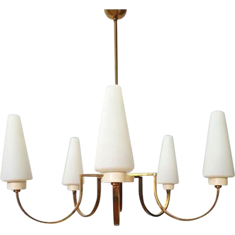Vintage chandelier Golden brass 1970