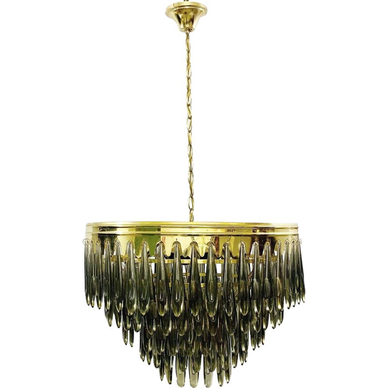 Vintage chandelier of falling Italian smoked glass