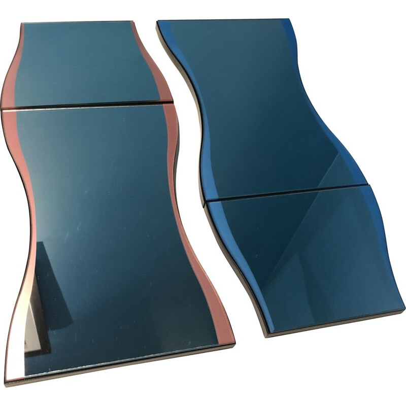Vintage blue and pink mirror by Karim Rashid for Tonelli