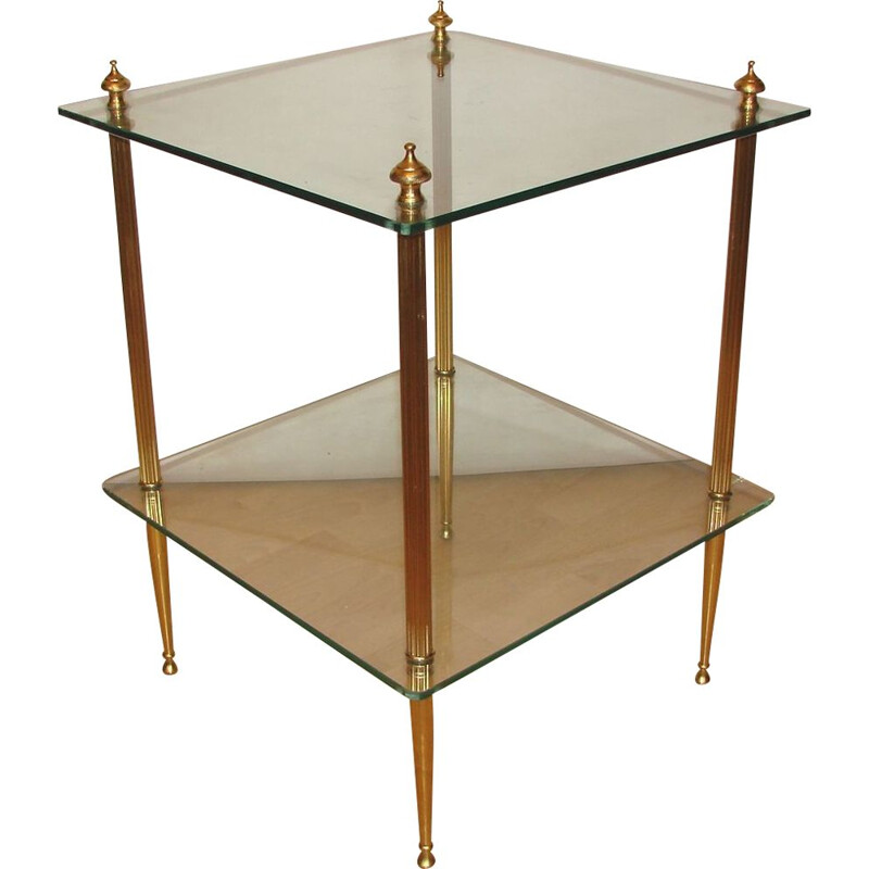 Vintage side table of glass and brass 1970s