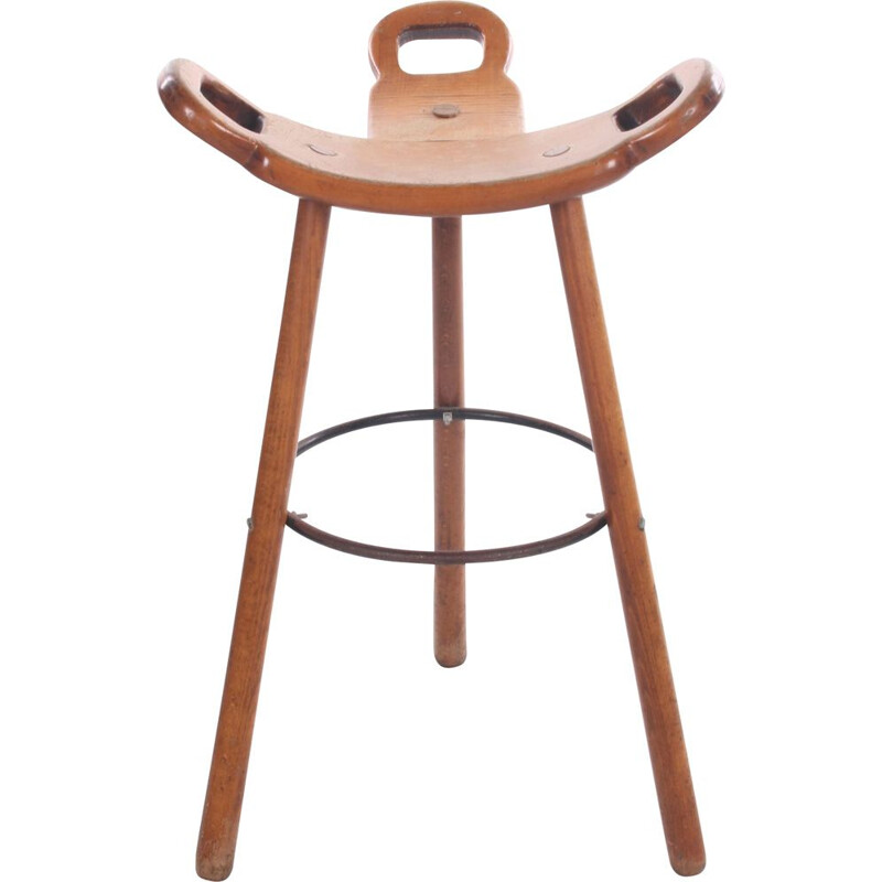 Vintage Brutalist Bar Stool Marbella for Confonorm, Spanish 1970s