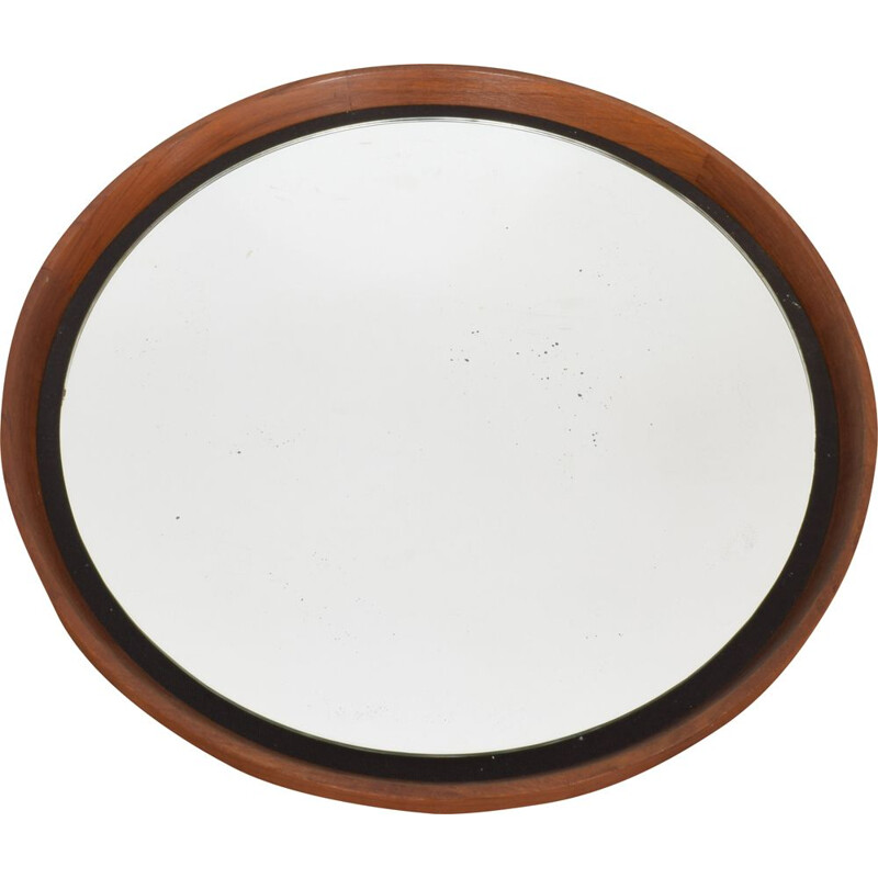 Mid-Century Teak Mirror by Uno & Östen Kristiansson for Luxus, 1950s
