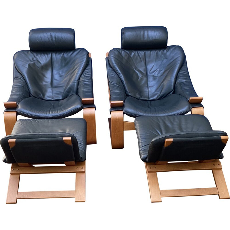 Pair of vintage Roche Bobois Leather Armchairs by Ake Fribytter for Nelo 1970