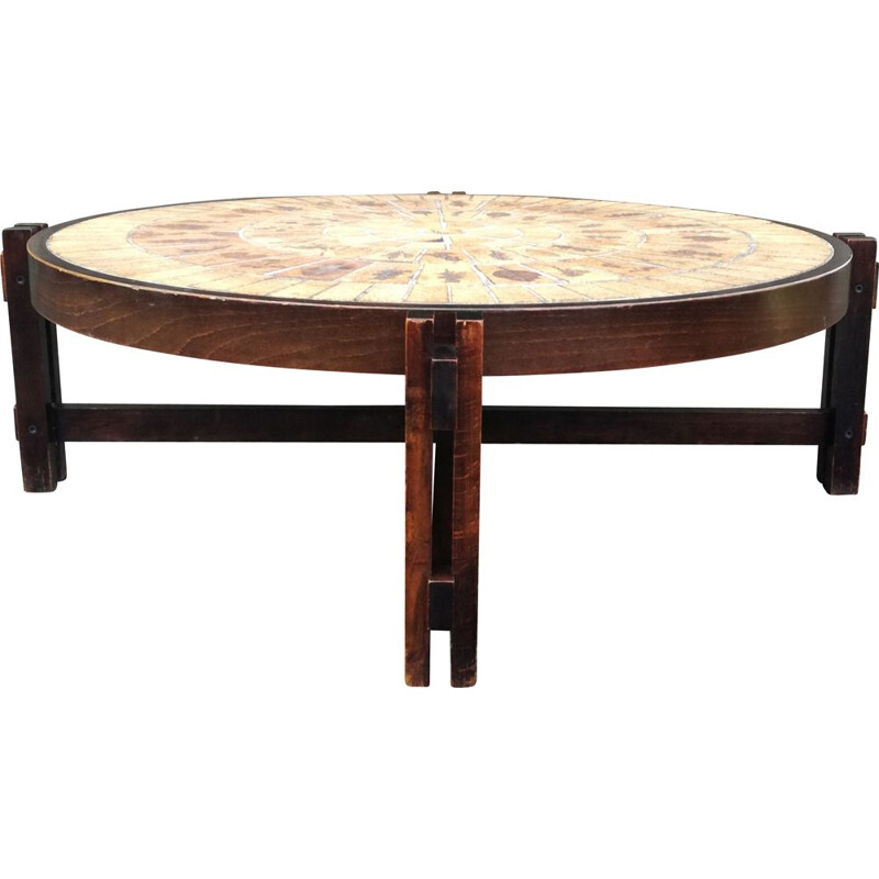 Vintage coffee table Herbier sauvage by Roger Capron 1960