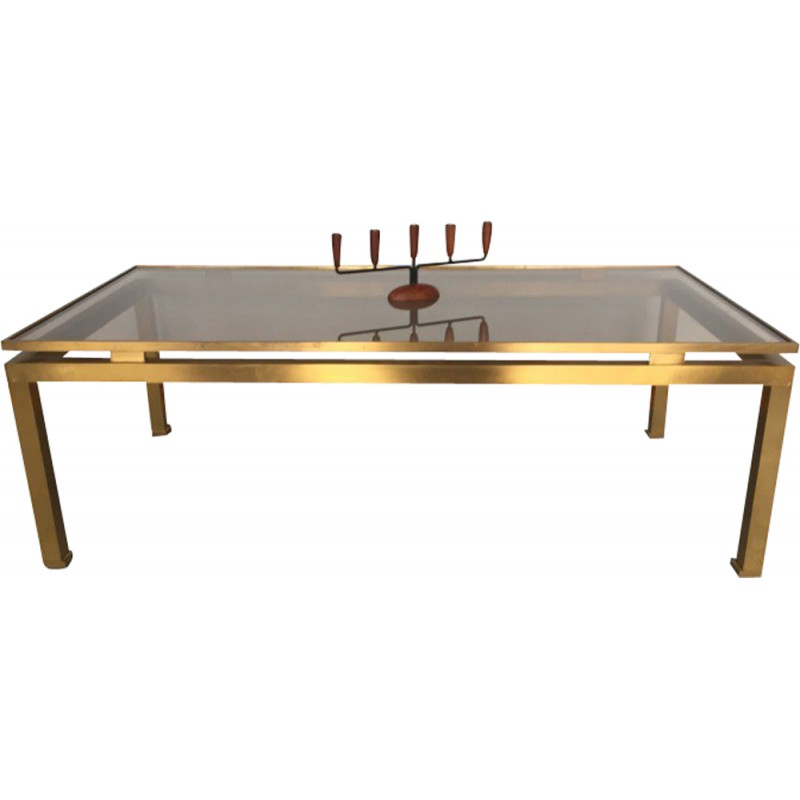Maison Jansen Coffee Table In Brass And Glass, Guy LEFEVRE   1970s