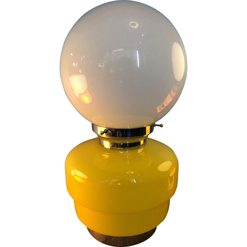Vintage lamp in yellow and white glass from Italian Mazzega