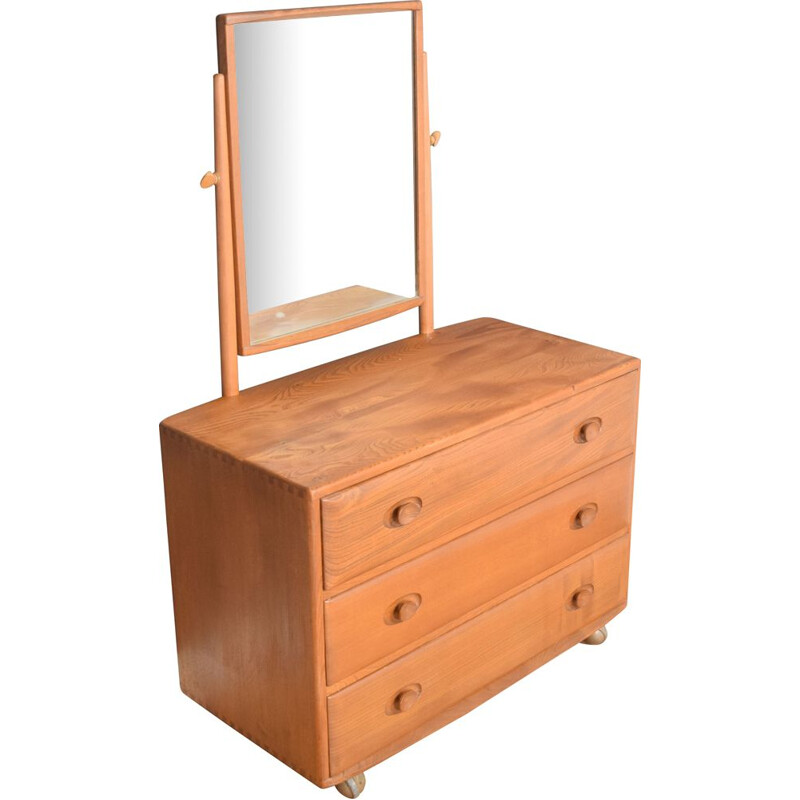 Vintage chest of drawers with mirror by Lucian Ercolani for Ercol 1960