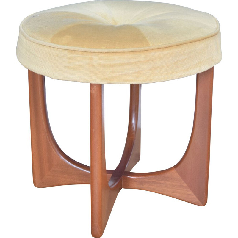 Vintage teak dressing table stool with fresco G Plan 1960