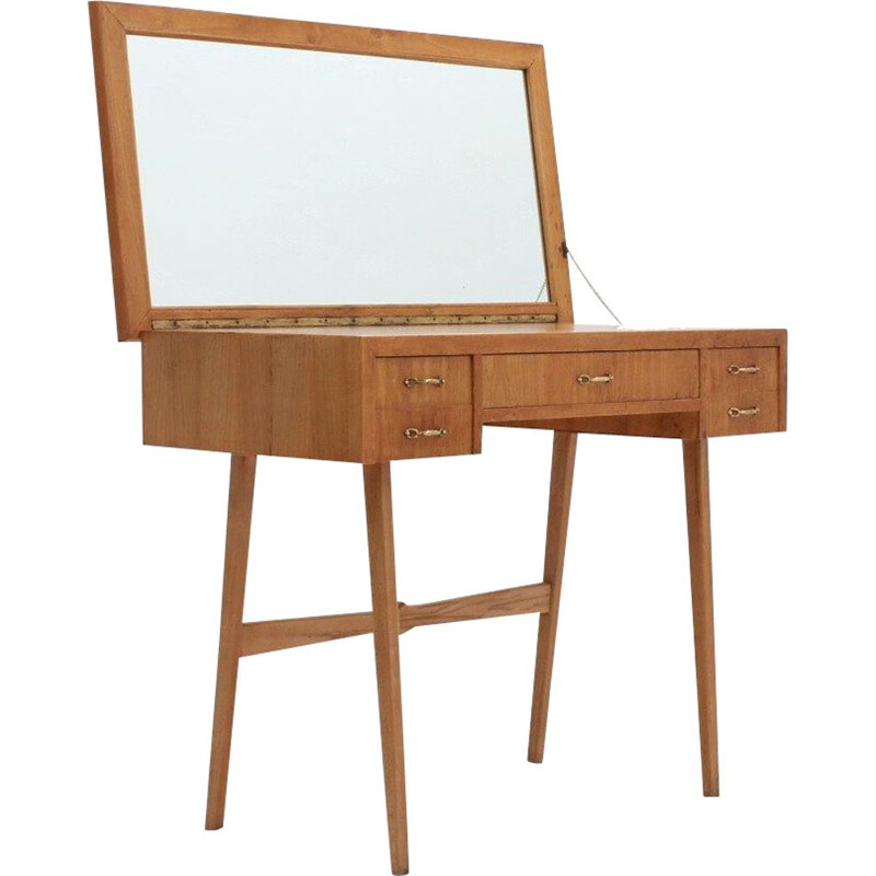 Vintage oak dressing table with mirror 1950